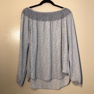 Gap Sheer White and Blue Blouse